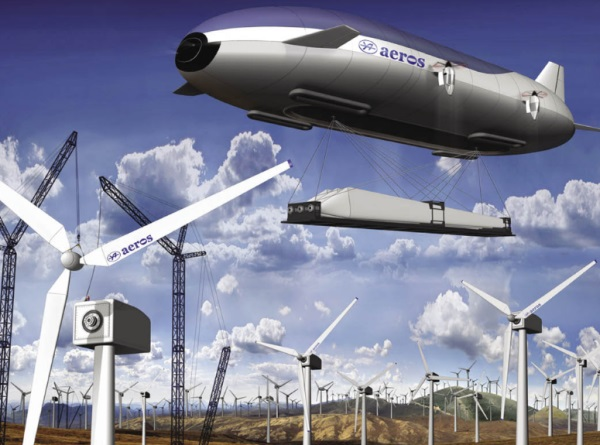 Not a blimp, zeppelin, or hybrid vehicle – the Aeroscraft is a new way to move wind turbines.