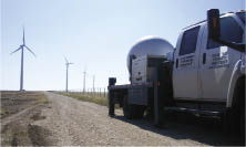 One of John Schroeder's radar trucks based at Texas Tech University is set up for single Doppler scan at a Texas wind farm. A single radar can generate 2D information. Two trucks working as a dual Doppler system are capable of 3D measurements