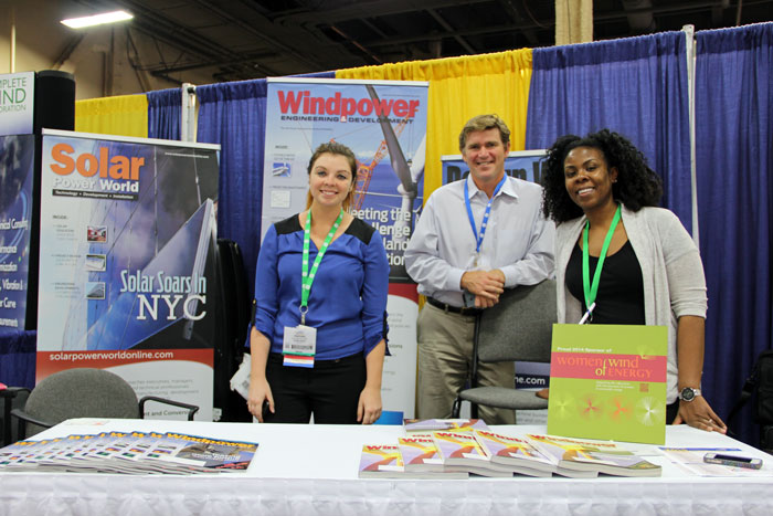 Windpower 2014 attendees -- it's been great! See you next year. From left to right: Windpower Engineering and Development's Heather Centorbi, Todd Tidmore, and Nic Sharpley.