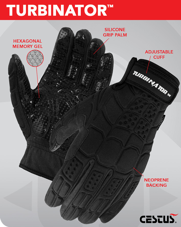 Cestusline's Turbinator gloves are well suited for climbing wind turbines which requires steady grip control. The gloves feature Hexagonal Memory Gel, silicone grip palm, an adjustable cuff and neoprene backing.