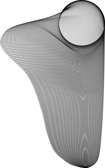 The image shows the blade shape as viewed from the tip and at an elevation angle of 30 degrees above the suction surface.