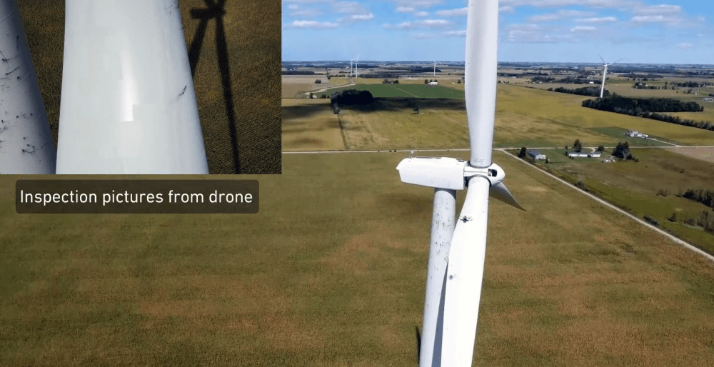 Self-flying drones and wind turbine blades: Inspections in about 15