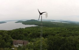 This 1.7-kW Pika Energy T701 wind turbine is at a residence in Maine. Credit: Pieter Huebner / Off-Grid Enterprises